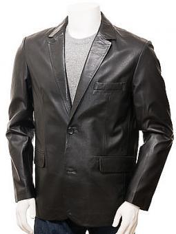 Mens Leather Blazer in Black: Alphington