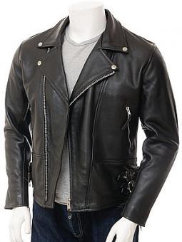 Men's Black Leather Biker Jacket: Ashford