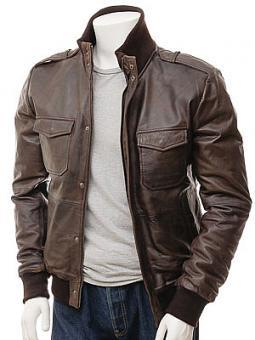 Men's Brown Leather Bomber Jacket: Belgrade