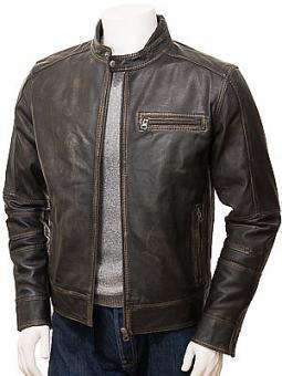 Men's Vintage Leather Biker Jacket: Bodmiscombe