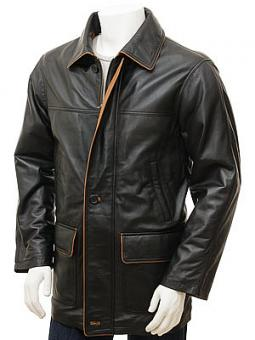 Men's Black Leather Coat: Cadeleigh
