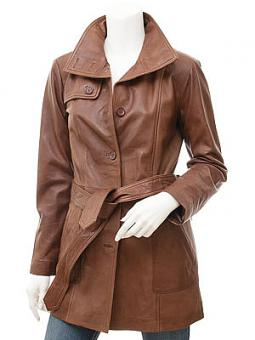 Womens Leather Trench Coat in Brown: Campbell