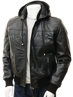Men's Black Leather Hoodie Jacket: Chelfham