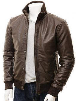 Men's Brown Leather Bomber Jacket: Cheriton