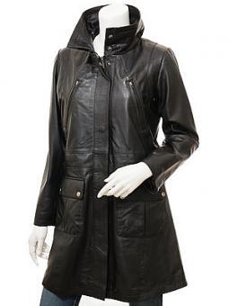 Women's Black Leather Coat: Cottonton