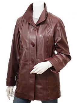 Women's Burgundy Leather Coat: Cullman