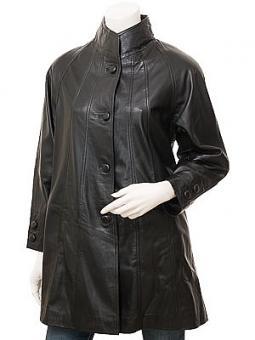 Women's Black Leather Coat: Eden