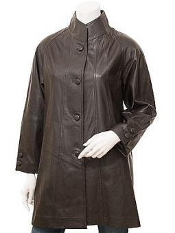 Women's Brown Leather Coat: Eden