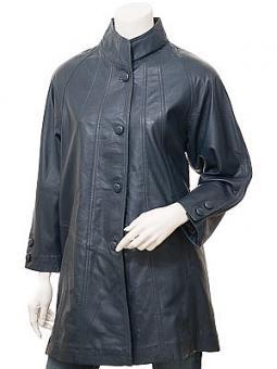 Women's Blue Leather Coat: Eden