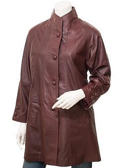 Women's Burgundy Leather Coat: Eden