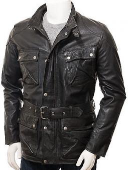 Men's Black Leather Jacket: Huntshaw