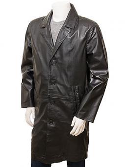 Men's Black Leather Overcoat: Poundsgate