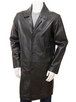 Men's Black Leather Coat: Puddington