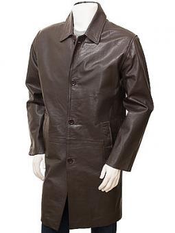 Men's Brown Leather Coat: Puddington
