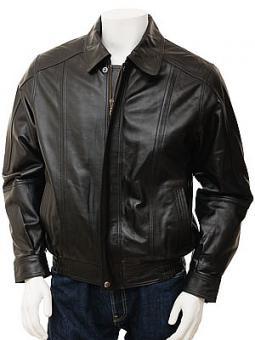 Mens Black Leather Jacket: Rennes