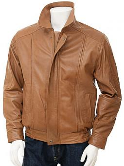 Mens Tan Cognac Leather Jacket: Rennes