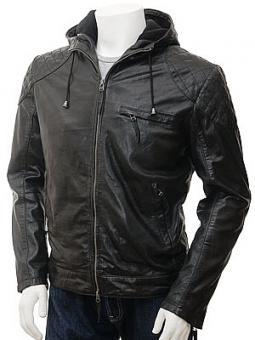 Men's Black Hooded Leather Jacket: Aller