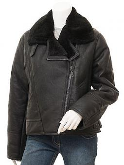 Womens Black Sheepskin Flying Jacket: Arley