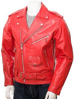 Men's Leather Biker Jacket in Red: Ashcombe