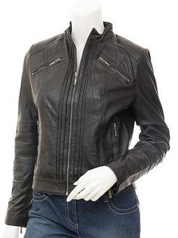 Women's Black Leather Biker Jacket : Bankston