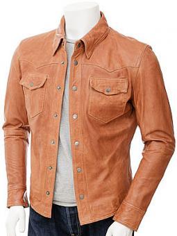 Mens Tan Leather Shirt: Beaworthy