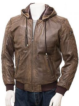 Men's Brown Leather Hooded Bomber Jacket: Bickington