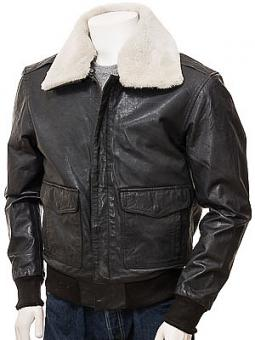 Men's Black and Cream Leather Aviator: Bolberry