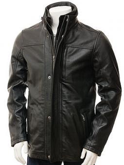 Men's Black Leather Jacket: Broadclyst