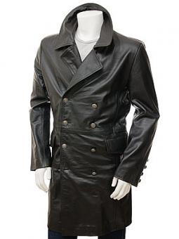 Men's Black Leather Greatcoat: Bulkworthy