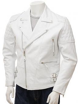Men's White Leather Biker Jacket: Burscott