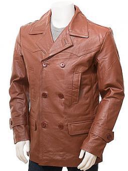 Men's Tan Leather Peacoat: Bursdon