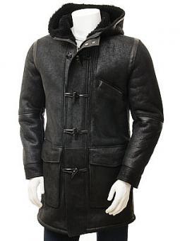 Men's Black Sheepskin Duffle Coat: Chambercombe