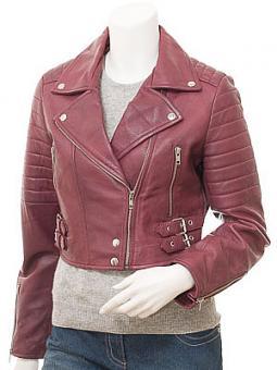 Women's Burgundy Leather Biker Jacket: Childersburg