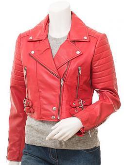 Women's Red Leather Biker Jacket: Childersburg