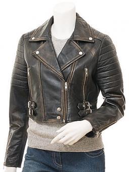 Women's Vintage Leather Biker Jacket: Childersburg