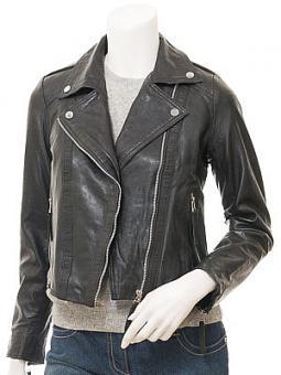 Women's Black Leather Biker Jacket: Coalburg