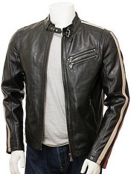 Men's Black Leather Biker Jacket: Combrew