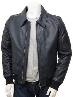 Men's Blue Leather Bomber Jacket: Culmstock