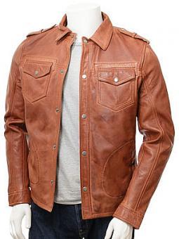 Men's Tan Leather Shirt Jacket: Denbury