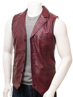 Men's Burgundy Leather Waistcoat: Digby