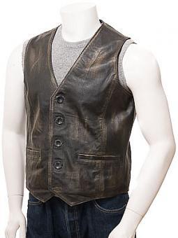 Men's Vintage Leather Waistcoat: Dolton