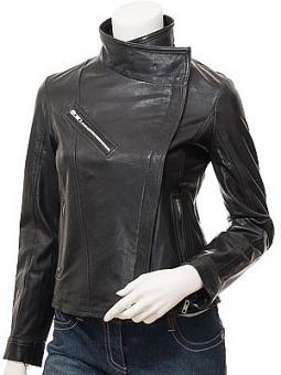 Women's Black Leather Biker Jacket: Dothan