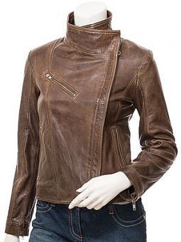 Women's Brown Leather Biker Jacket: Dothan