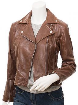 Women's Brown Leather Biker Jacket: Dozier