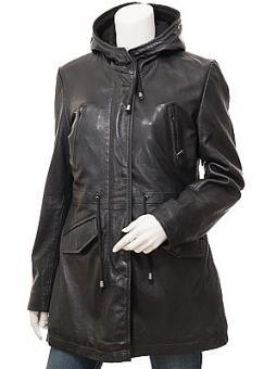 Women's Black Leather Parka: Echo
