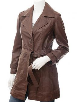 Womens Brown Leather Coat: Evansville