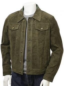 Men's Olive Suede Trucker Jacket: Foggia