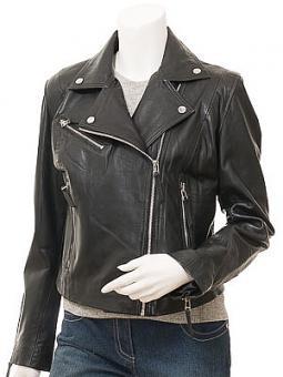 Women's Black Leather Biker Jacket: Gadsden