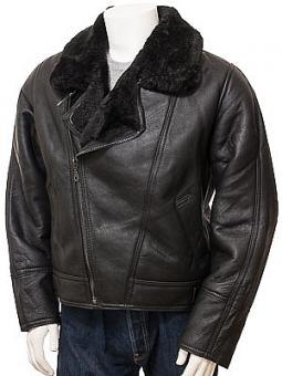 Men's Black Sheepskin Flying Jacket: Ghent