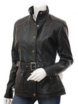 Womens Black Leather Jacket: Hartford